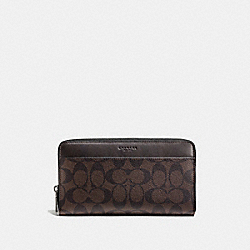 COACH F93510 Travel Wallet In Signature MAHOGANY/BROWN
