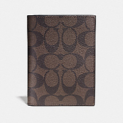 COACH F93518 - PASSPORT CASE IN SIGNATURE MAHOGANY/BROWN