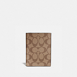 COACH F93518 - PASSPORT CASE IN SIGNATURE CANVAS TAN/BLACK ANTIQUE NICKEL