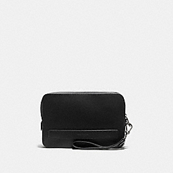 COACH F93555 Pouchette In Crossgrain Leather BLACK