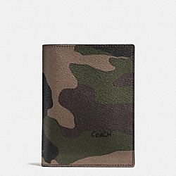 COACH F93594 Passport Case In Camo Print Coated Canvas GREEN CAMO