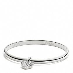 THIN PAVE HEART DANGLE BANGLE - f94024 - SILVER/SILVER