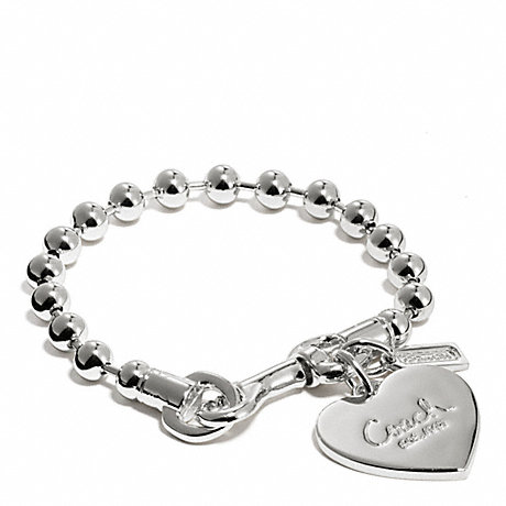 Coach F94025 Ball Chain Heart Charm Bracelet Silver