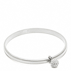 THIN PAVE BALL DANGLE BANGLE - f94074 - SILVER/SILVER