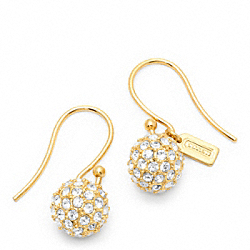 COACH F94163 Pave Ball Drop Earring GOLD/GOLD