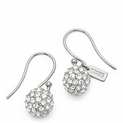 COACH F94163 - PAVE BALL DROP EARRING SILVER/SILVER