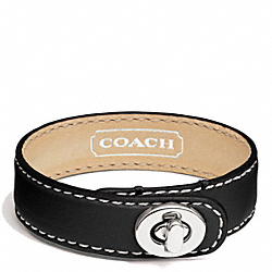 COACH F94165 - LEATHER WRAP TURNLOCK BRACELET SILVER/BLACK