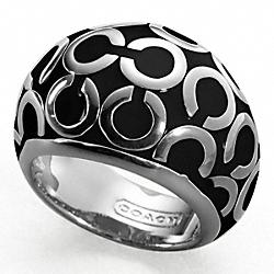 COACH F94428 Op Art Enamel Domed Ring SILVER/BLACK