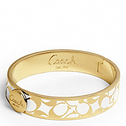 COACH F95243 Half Inch Bias Signature Hinged Bangle