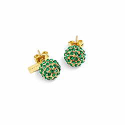 COACH HOLIDAY PAVE STUD EARRINGS - GOLD/GREEN - F95252