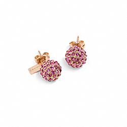 COACH HOLIDAY PAVE STUD EARRINGS - ROSEGOLD/FUCHSIA - F95252