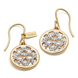 COACH F95701 Op Art Pave Disc Earring