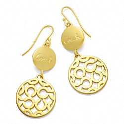 COACH F95786 Pave Op Art Double Drop Earrings GOLD/GOLD