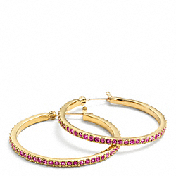 COACH F95791 Pave Hoop Earrings GOLD/MAGENTA