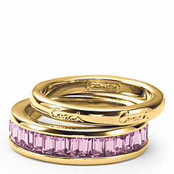 COACH F95796 Pave Stacking Ring GOLD/LILAC