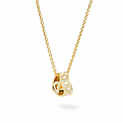 COACH F95804 Enamel Op Art Heart Necklace