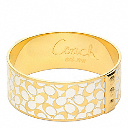 COACH F95812 One Inch Bias Signature Bangle GOLD/WHITE