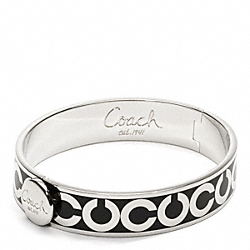 COACH F95856 Half Inch Op Art Hinged Bangle SILVER/BLACK