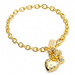 COACH TRIPLE HEART CHARM BRACELET - ONE COLOR - F95918