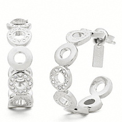 COACH F95951 Pave Snap Hoop Earrings