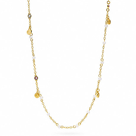 COACH f95968 MINI COACH SNAP PEARL STATION NECKLACE