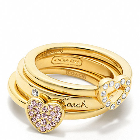 COACH f95971 PAVE HEART RING SET