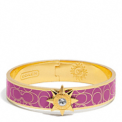 COACH F95998 Half Inch Hinged Starbust Signature Bangle GOLD/PURPLE