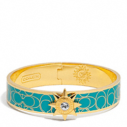 COACH F95998 Half Inch Hinged Starbust Signature Bangle GOLD/TEAL