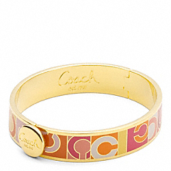 COACH F96000 Half Inch Hinged Mixed Op Art Bangle