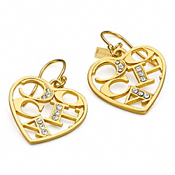 COACH F96010 - COACH PAVE HEART EARRINGS ONE-COLOR