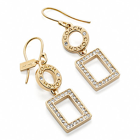 COACH PAVE SQUARE DROP EARRINGS -  - f96099