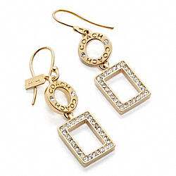 COACH F96099 Pave Square Drop Earrings