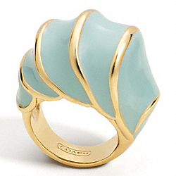 COACH F96122 Enamel Shell Domed Ring GOLD/SEAFOAM