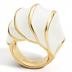 ENAMEL SHELL DOMED RING - f96122 - 9285