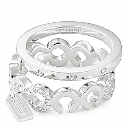 COACH F96177 Sterling Pave Op Art Stacking Rings
