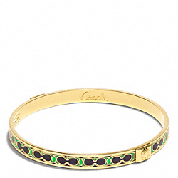 COACH F96188 Thin Hamptons Signature C Bangle GOLD/GREEN