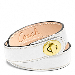 COACH F96317 Leather Double Wrap Turnlock Bracelet BRASS/WHITE