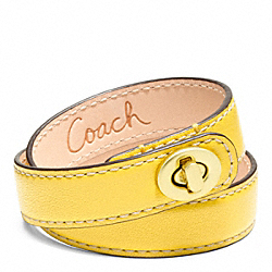 COACH F96317 Leather Double Wrap Turnlock Bracelet BRASS/YELLOW