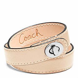 COACH F96317 Leather Double Wrap Turnlock Bracelet SILVER/VACHETTA