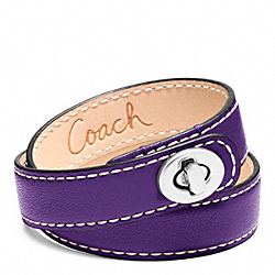 COACH F96317 Leather Double Wrap Turnlock Bracelet SILVER/VIOLET