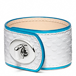 COACH F96319 - MEDIUM LEATHER TURNLOCK CUFF SILVER/WHITE