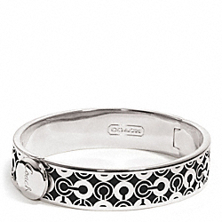 HALF INCH HINGED OP ART BANGLE - f96345 - F96345SVBK