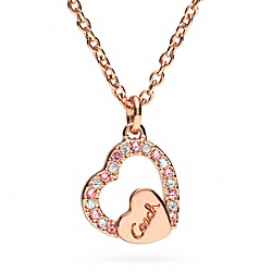 COACH F96374 Pave Coach Script Heart Necklace