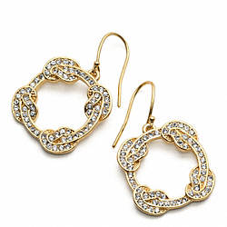 COACH F96385 Pave Circle Knot Earrings GOLD/GOLD
