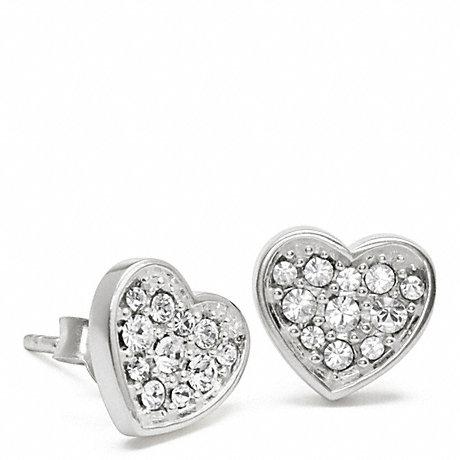 COACH STERLING PAVE HEART EARRINGS -  - f96392