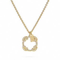 COACH F96405 Pave Knot Circle Pendant Necklace