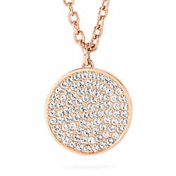 COACH LARGE PAVE DISC PENDANT NECKLACE - RS/CLEAR - F96412