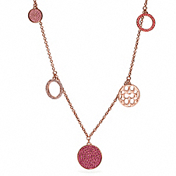 MULTI PAVE DISC STATION NECKLACE - f96414 - ROSEGOLD/MULTICOLOR