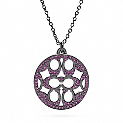 PAVE SIGNATURE DISC NECKLACE - f96417 - 13598