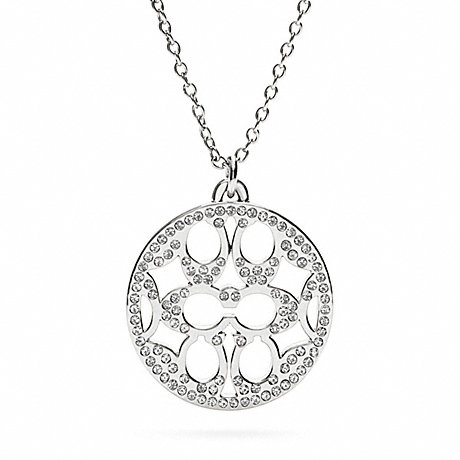 COACH f96417 PAVE SIGNATURE DISC NECKLACE SILVER/CLEAR